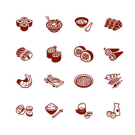 Traditional japanese sushi restaurant food micro icon set