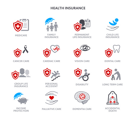 Health insurance icons, medicare and diseases care