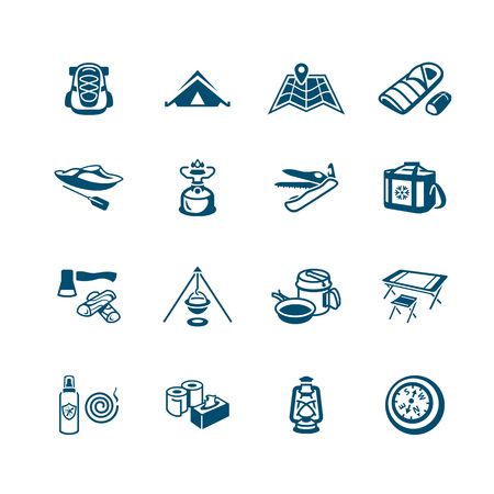 Camping equipment and tools blue icon-set Illustration