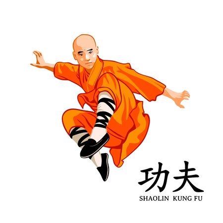 Jumping Shaolin kung-fu young monk isolated Stock Vector - 127308300