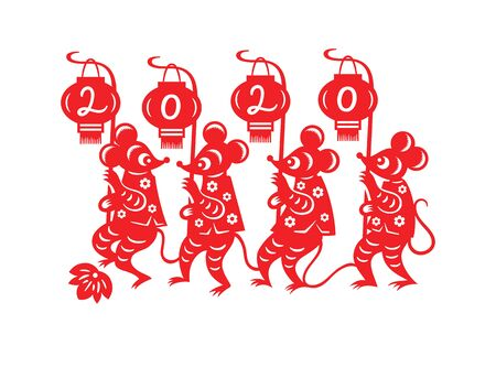 Chinese New Year marching little mouses postcard