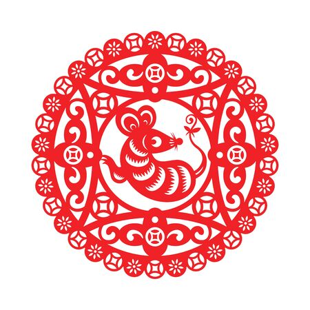Chinese New Year decorated paper-cut with Mouse