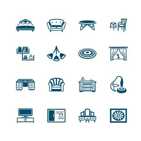 Modern home furniture micro deep blue icon-set