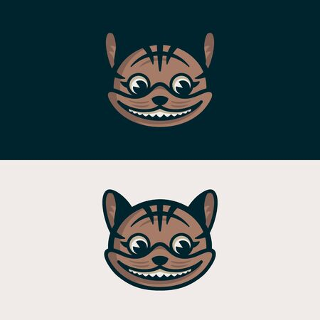 Cat head over day and night isolated