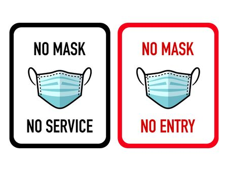 Virus infection mask prohibition shop warning stickers