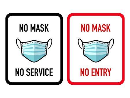 Warnaufkleber für das Verbot der Virusinfektionsmaske Vektorgrafik