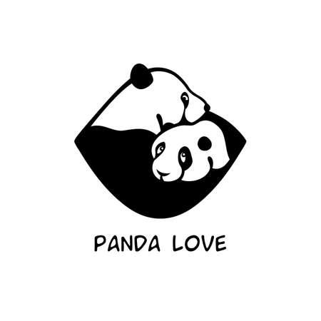 Two giant pandas hug each other 向量圖像