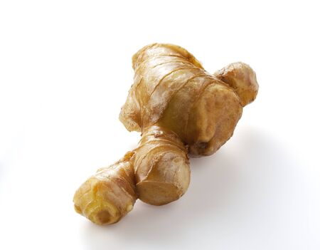 ginger root on white background. photo