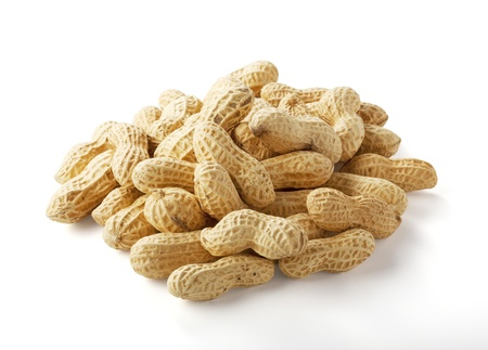Peanuts closeup on white background Stock Photo