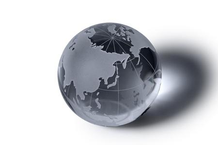 international network: glass globe