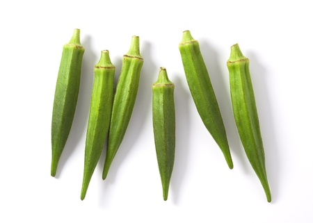 Lady fingers (Okras - Gumbos) on white background