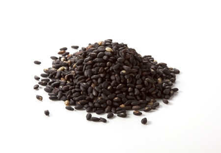 black seeds: Sesame seeds isolated on white background Stock Photo