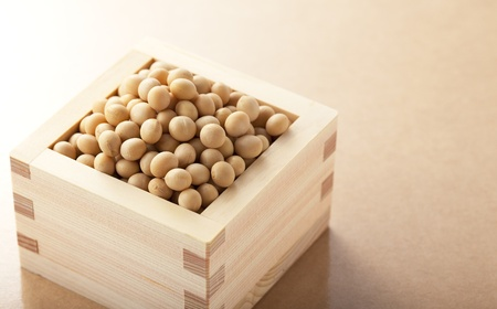 soybeans in the wooden square cup