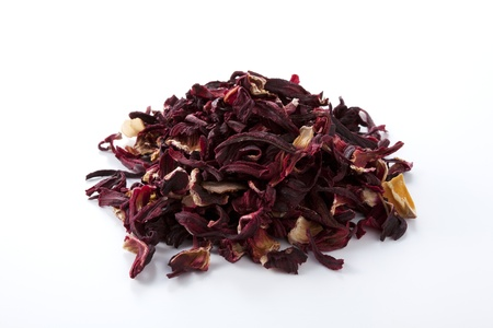 botanical remedy: Dried hibiscus flower on white background Stock Photo