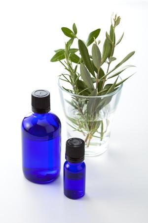 白い背景の上のハーブの葉とドロッパー ボトル