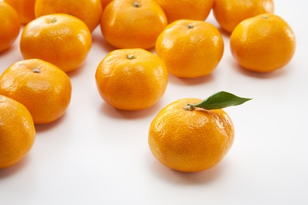 japanese oranges on white background