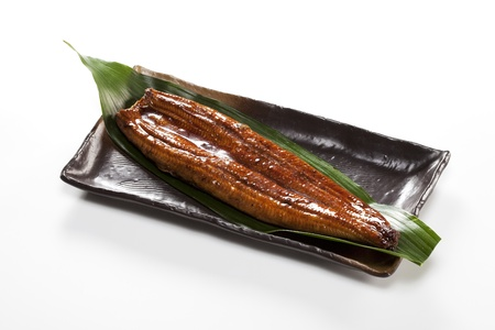 japanese food roast eel ( unagi ) on bamboo grass Stock Photo