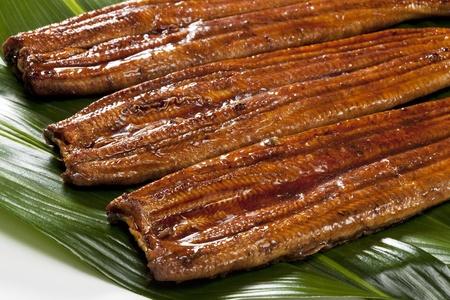 japanese food roast eel ( unagi ) on bamboo grass photo