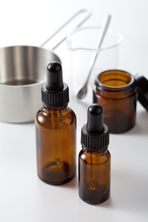 dropper bottle on white background