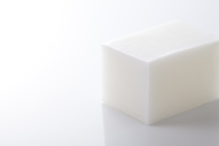 cleanly: soap bar on white background