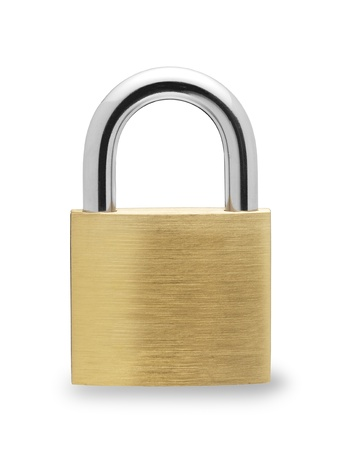 白い背景の上の金属の南京錠