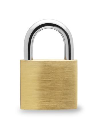 to lock: Candado de metal sobre fondo blanco Foto de archivo