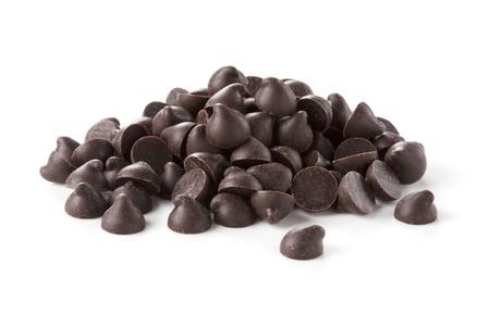 galleta de chocolate: Virutas de chocolate se coloc� sobre un fondo blanco