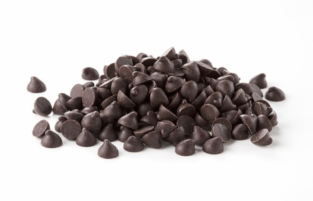 semisweet: Chocolate chips was placed on a white background