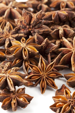 Star anise was placed on a white background Stock Photo - 12730359