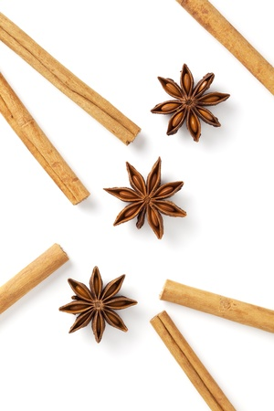 Cinnamon stick and star anise was placed on a white background Stock Photo - 12730304