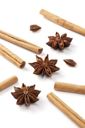 Cinnamon stick and star anise was placed on a white background Stock Photo - 12730316