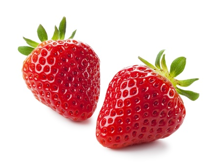 Fresh strawberries were placed on a white background photo