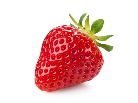 新鮮なイチゴは白い背景の上に置かれました。 写真素材
