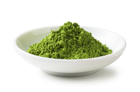 matcha: Green Tea powder on the plate