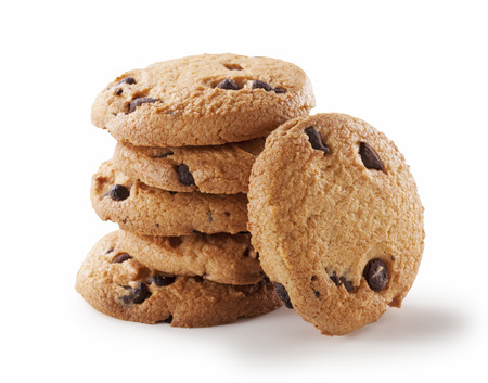 chocolate treats: Chocolate chip cookie on white