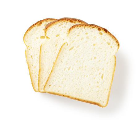 Slice of white bread isolated on white Banco de Imagens