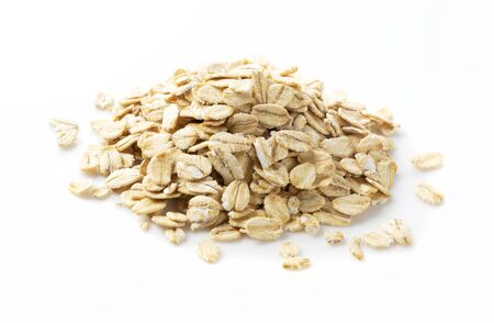 Close-up of oatmeal placed on a white background