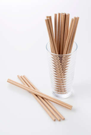 Paper straws in a glass. Stock Photo