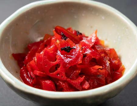 Japanese pickles. Red Fukujinzuke.sliced vegetables pickled in soy sauce.