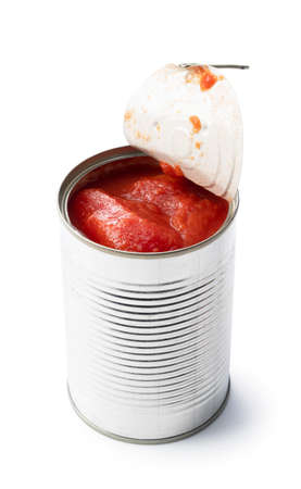 Whole tomato cans on a white background
