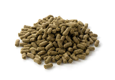 Rabbit pet food on a white background Stockfoto