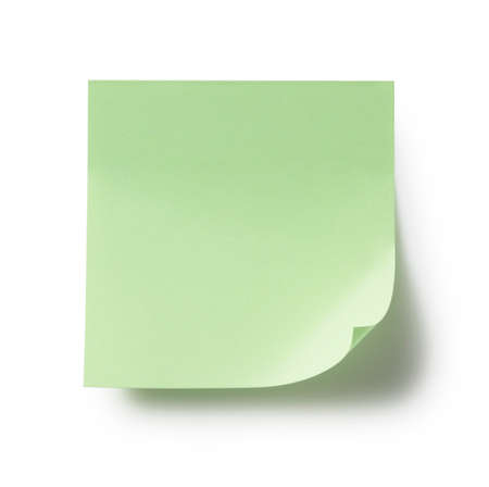 Green sticky notes on a white background
