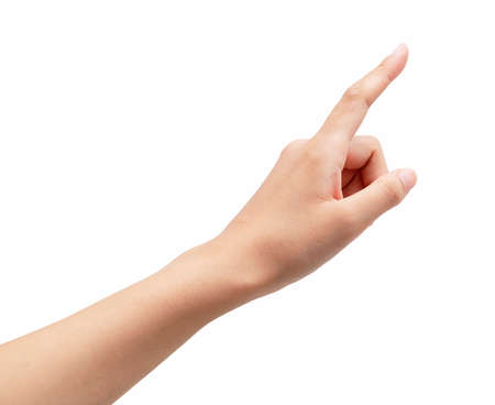 A woman's hand points to a white background