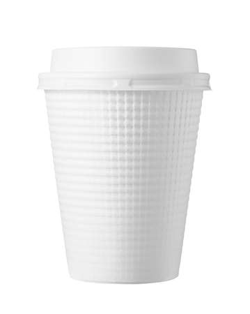 White paper cups for hot drinks on a white background