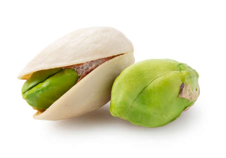 Pistachios placed on a white background. Focus stacking
