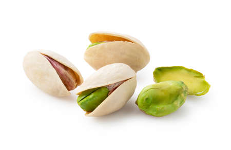 Pistachios placed on a white background. Focus stacking Standard-Bild