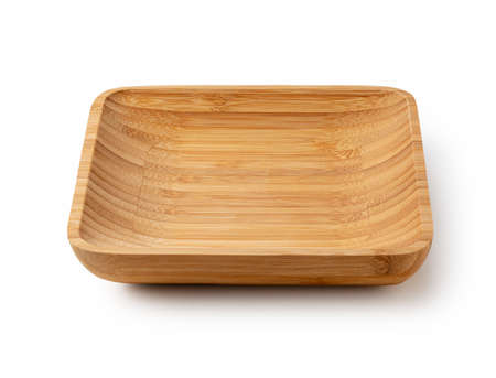 Bamboo plates on a white background