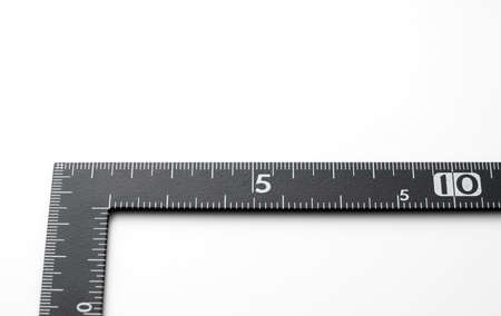 Right-angled black ruler on a white background