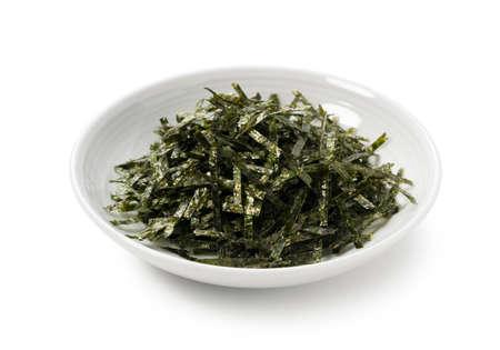 Japanese chopped seaweed on a white background 스톡 콘텐츠