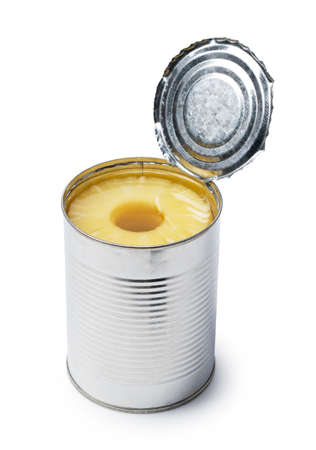 An open can of pineapple on a white background.